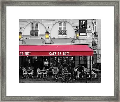 Cafe Le Buci Framed Print by Tom Reynen