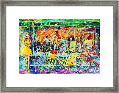Cafe Of Amsterdam - Yellow Girl Framed Print by Mathias