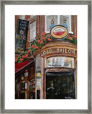 Cafe Old Sailor Framed Print by Andrea Barauskas