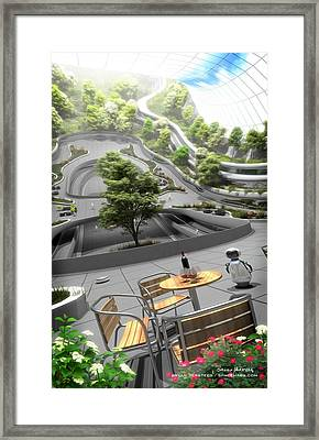 Framed Print featuring the digital art Cafe On A 75m Radius Settlement by Bryan Versteeg