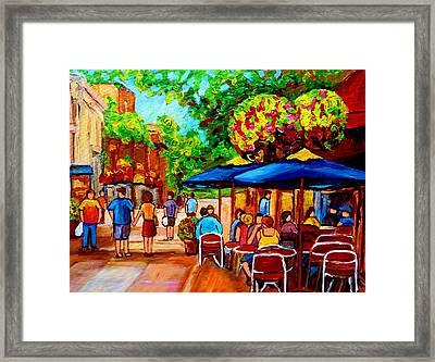 Cafe On Prince Arthur  In Montreal  Framed Print by Carole Spandau