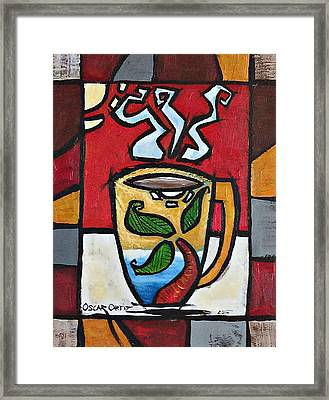 Cafe Palmera Framed Print