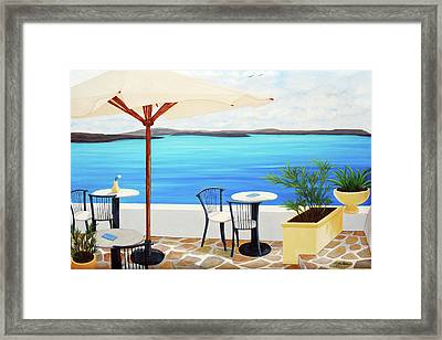 Cafe Santorini On The Rim  Framed Print