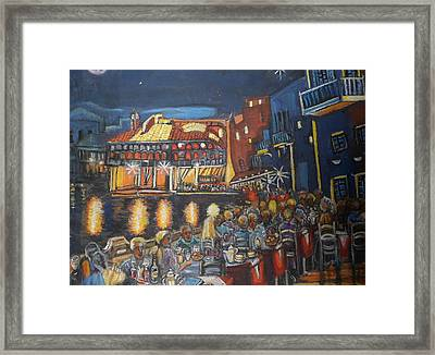 Cafe Scene At Night Framed Print