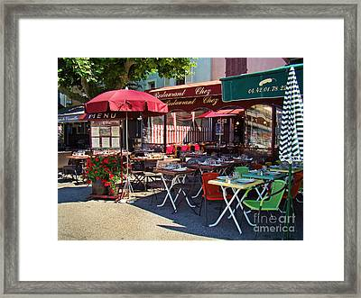 Cafe Scene In France Framed Print