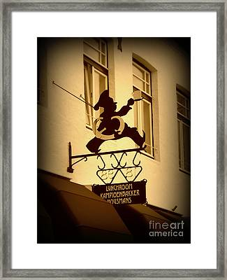 Cafe Sign In Holland Framed Print by Carol Groenen
