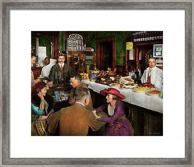 Framed Print featuring the photograph Cafe - Temptations 1915 by Mike Savad