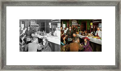 Framed Print featuring the photograph Cafe - Temptations 1915 - Side By Side by Mike Savad