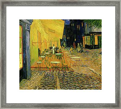 Cafe Terrace, Place Du Forum, Arles, 1888  Detail Framed Print by Vincent Van Gogh