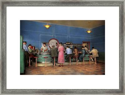 Cafe - The Half Way Point 1938 Framed Print
