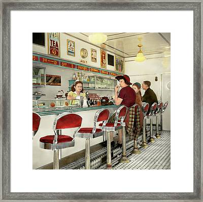 Cafe - The Local Hangout 1941 Framed Print by Mike Savad