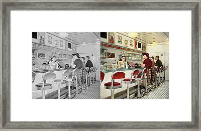 Cafe - The Local Hangout 1941 - Side By Side Framed Print by Mike Savad