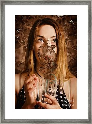 Cafe Tin Sign Girl Drinking Chocolate Milkshake Framed Print by Jorgo Photography - Wall Art Gallery