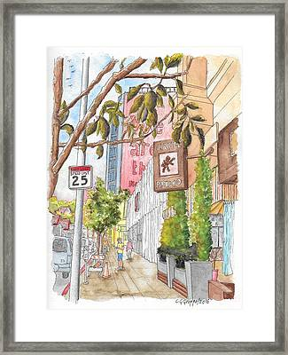 Cafee Primo In Sunset Plaza, West Hollywood, California Framed Print