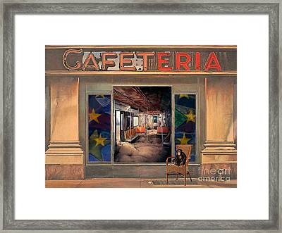 Framed Print featuring the painting Cafeteria by Mojo Mendiola
