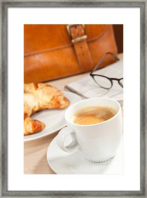 Caffeine And News For Breakfast Framed Print by Wolfgang Steiner
