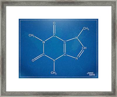 Caffeine Molecular Structure Blueprint Framed Print by Nikki Marie Smith