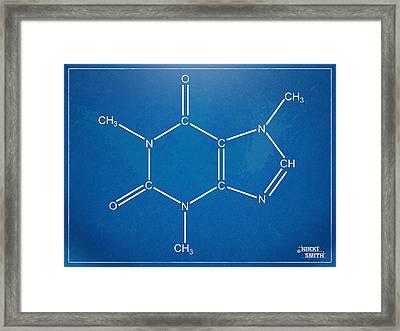 Caffeine Molecular Structure Blueprint Framed Print by Nikki Marie Smith