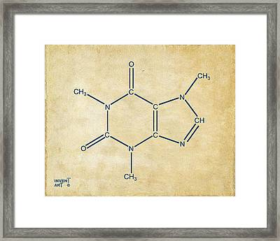 Framed Print featuring the digital art Caffeine Molecular Structure Vintage by Nikki Marie Smith