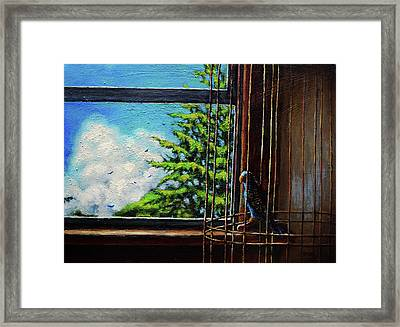 Caged Bird Framed Print by Chris Bahn