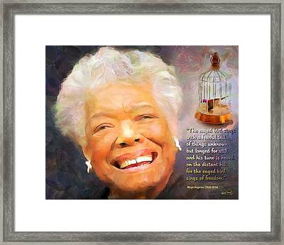 The Caged Bird Sings - Tribute To Maya Angelou Framed Print