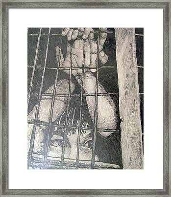 Framed Print featuring the drawing Caged by Jean Haynes