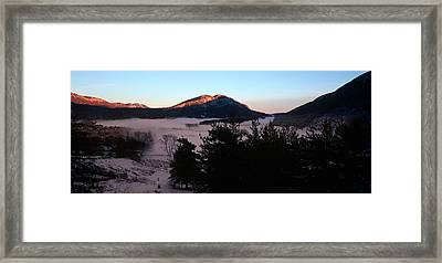 Caille Village In Winter At Dusk Framed Print by Panoramic Images