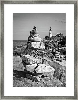 Cairn And Lighthouse  -56052-bw Framed Print