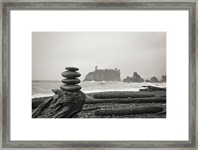 Cairn On A Beach Framed Print