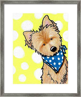 Cairn Terrier On Dotted Yellow Framed Print by Kim Niles
