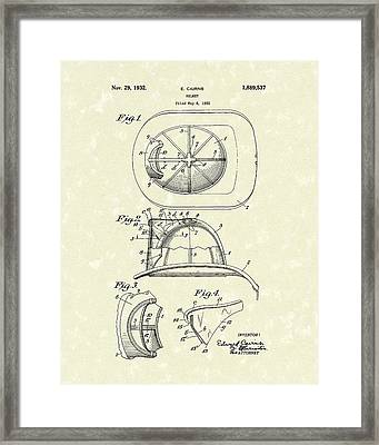 Cairns Helmet 1932 Patent Art Framed Print