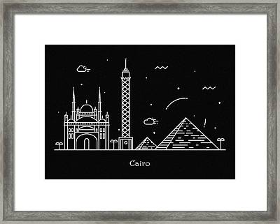 Cairo Skyline Travel Poster Framed Print