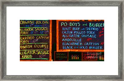 Cajun Menu Alligator Sausage Poboy - 20130119 Framed Print