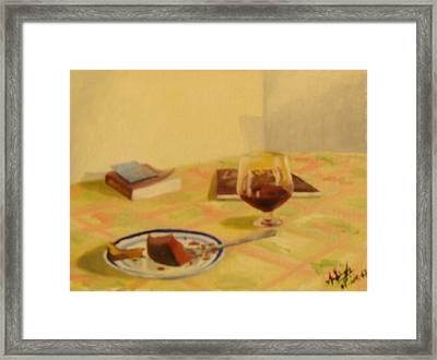 Cake And Wine Framed Print by Anil Singh