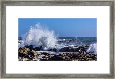 Wave Crashing On California Coast Framed Print