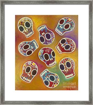Calaberitas Day Of The Dead Skulls Framed Print by Carla Bank