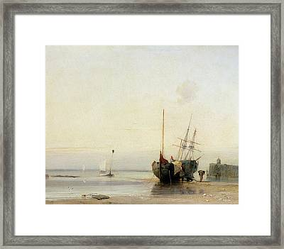 Calais Pier Framed Print by Richard Parkes Bonington