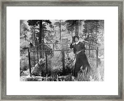 Calamity Jane At Wild Bill Hickok's Grave 1903 Framed Print by Daniel Hagerman