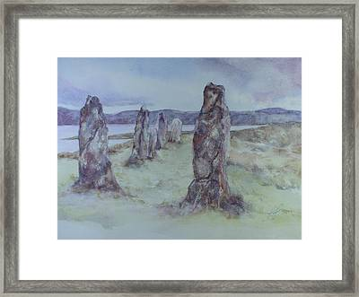Framed Print featuring the painting Calanais Standing Stones by Kim Fournier