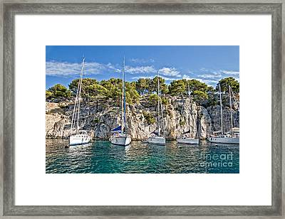 Calanque And Boats Framed Print by Delphimages Photo Creations