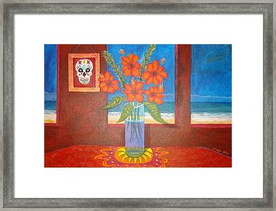 Calavera In Paradise Framed Print by Manny Chapa