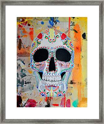 Framed Print featuring the painting Calavera by Josean Rivera