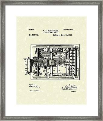 Calculator 1893 Patent Art Framed Print by Prior Art Design