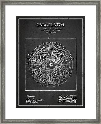 Calculator Patent From 1895 - Charcoal Framed Print