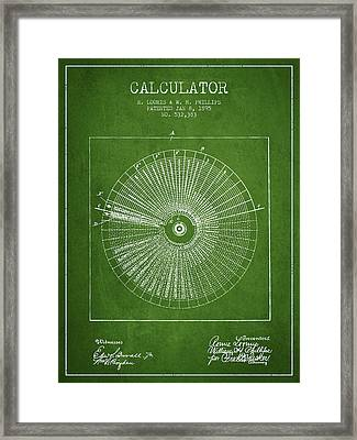 Calculator Patent From 1895 - Green Framed Print
