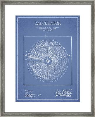 Calculator Patent From 1895 - Light Blue Framed Print