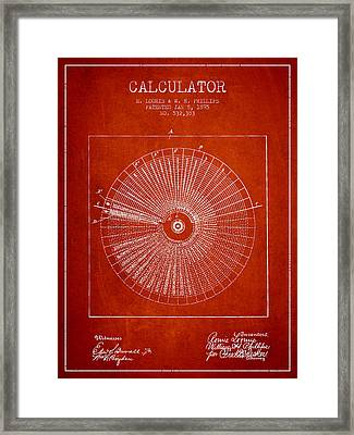 Calculator Patent From 1895 - Red Framed Print