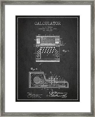 Calculator Patent From 1900 - Charcoal Framed Print