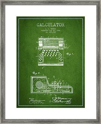 Calculator Patent From 1900 - Green Framed Print