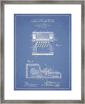 Calculator Patent From 1900 - Light Blue Framed Print